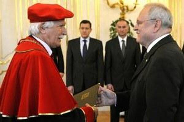 Former rector of the Police Corps Academy in Bratislava Václav Krajník with former president Ivan Gašparovič