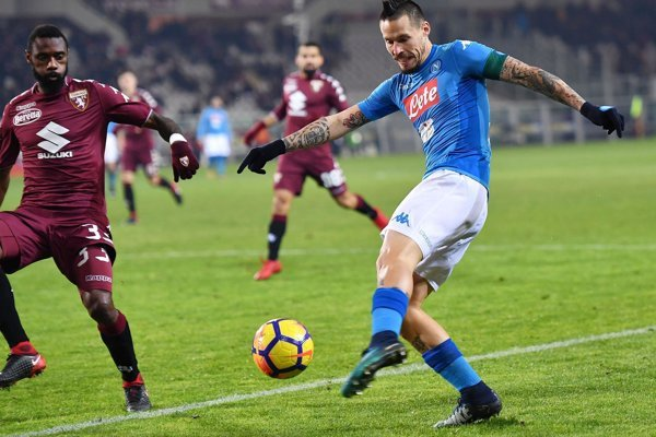 Napoli's Marek Hamšík kicks the ball during the Italian Serie A soccer match between Torino and Napoli in Turin on December 16.
