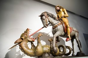 Master Pavol of Levoča exhibition in SNM, sculptural group of St George from Levoča.