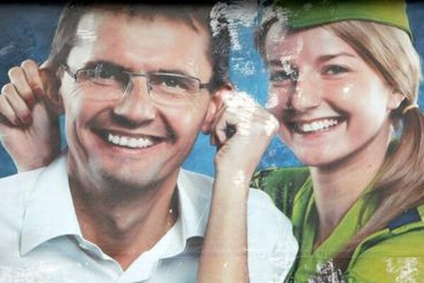Ľubomír Galko on bilboard during 2012 election campaign.