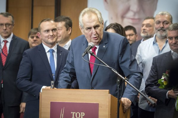 Miloš Zeman holds a speech after preliminary results - suggesting his re-election - were published, January 27.