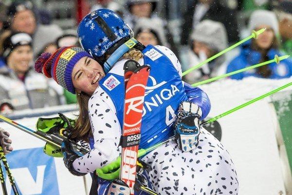 Veronika Velez-Zuzulová celebrates her victory with Petra Vlhová (L), who finished third.