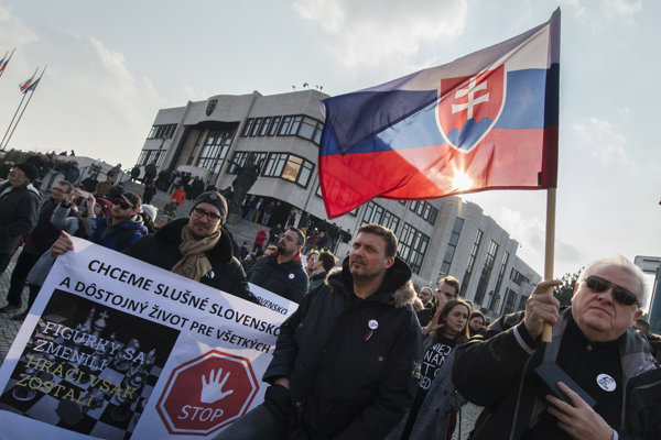 About one thousand people attended the protest rally in Bratislava.
