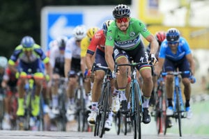 Sagan is cycling to victory in the fifth stage of Tour de France 2018.