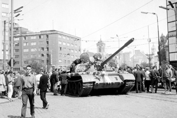 A tank in Bratislava during the August invasion in 1968.