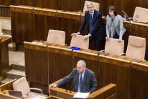 Most-Híd MP Peter Kresák (front) with paryt chairman Béla Bugár and ex-justice minister Lucia Žitňanská (also of Most-Híd), illustrative stock photo.
