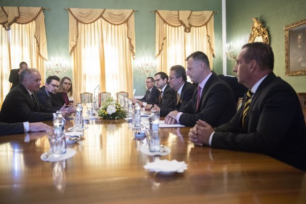 President Andrej Kiska, left, met with representatives of coalition parties to discuss election of Constitutional Court judges.