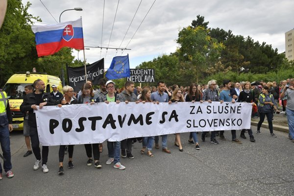 For A Decent Slovakia march on June 22, 2018, in Bratislava.