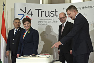 Visegrad Group prime ministers celebrating the group's 25th anniversary.