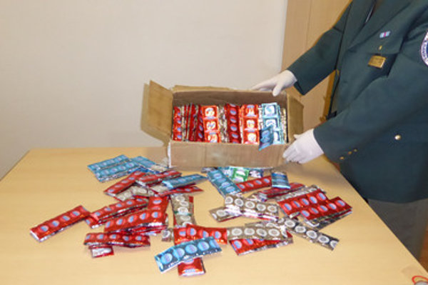 Confiscated fake condoms