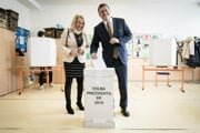 Maros Sefcovic and his wife Helena voted in the morning.