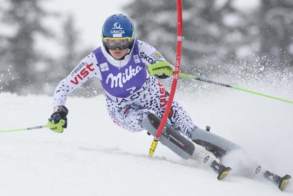 Veronika Velez-Zuzulová during the first run in Jasná