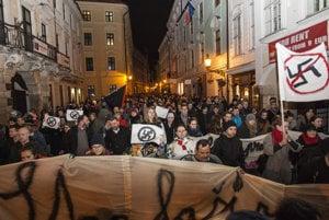 Protest march in Bratislava.