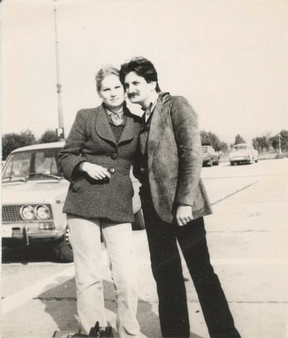 Júlia and Albín at the airport in Bratislava in 1980.