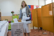 President-elect Zuzana Caputova voted in the EP election in her hometown of Pezinok. Her former party, PS, won three mandates in the EP.