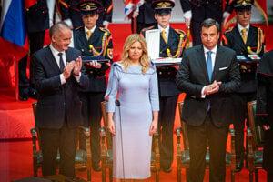 Outgoing President Andrej Kiska, President Zuzana Čaputová, and Parliament Speaker Andrej Danko.