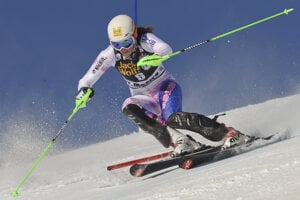 Slovak Petra Vlhová in St Moritz World Cup slalom.