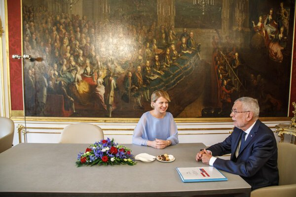 Slovak President Zuzana Čaputová and her Austrian counterpart Alexander Van der Bellen.