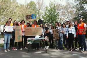 Slovak students protest against climate change in Zvolen, central Slovakia.