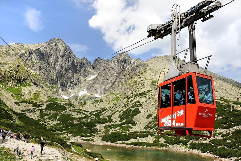 A cable car to Lomnický štít, the second highest peak in Slovakia.