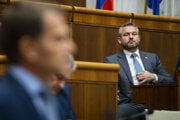 Prime Minister Peter Pellegrini during the parliamentary session on September 13, during which MPs backed the proposal for a vote of no confidence against him.