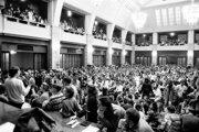 November 21 gathering of students at the Comenius University in Bratislava.