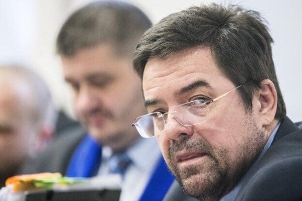 Marian Kocner in court on December 17. His attorney Michal Mandzak in the background.