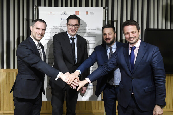 The mayors of the capitals of the Visegrad Group countries (the Czech Republic, Hungary, Poland and Slovakia), from left: Zdeněk Hřib of Prague, Gergely Karácsony of Budapest, Matúš Vallo of Bratislava, and Rafal Trzaskowski of Warsaw pose after they signed the Pact of Free Cities in Budapest, Hungary, on December 16, 2019.
