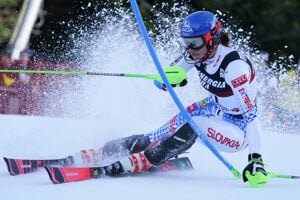 Slovakia's Petra Vlhová competes during an alpine ski, women's World Cup slalom in Zagreb, Croatia.
