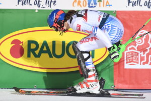 Petra Vlhová after completing the women's slalom in Zagreb, Croatia.