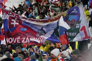 Fans expose a banner for Slovakia's Petra Vlhová during an alpine ski, women's World Cup slalom in Flachau, Austria.