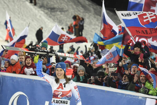 Petra Vlhová celebrates after winning the women's World Cup slalom in Flachau, Austria.