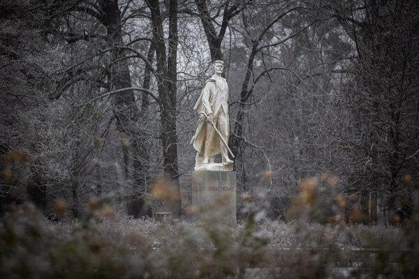 Sculpture of poet Janko Kráľ after whom the Sad Janka Kráľa park is named.