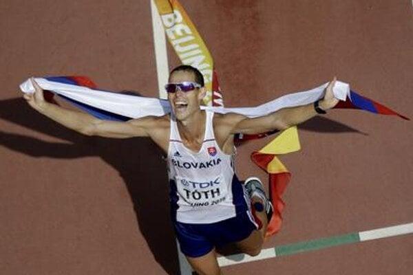 Slovak Matej Tóth celebrates victory at the World Championships in Beijing