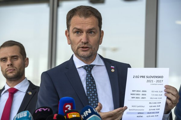 PM Igor Matovič presents the deal from the EU summit on July 21.