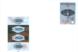 The first day cover with the new COVID-19 postal stamp.