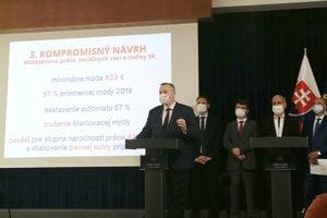 Labour Minister Milan Krajniak (Sme Rodina) introducing the compromise minimum wage proposal.