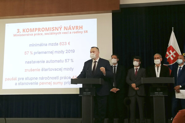 Labour Minister Milan Krajniak (Sme Rodina) introducing the compromise minimum wage proposal.