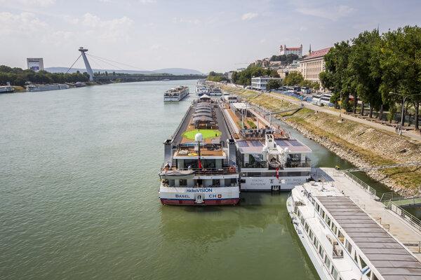 River cruise ships in Bratislava