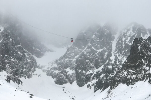 Cable car to Lomnický Peak (March 2019)
