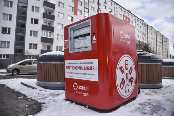 A container for electronic waste in Bratislava's Petržalka.