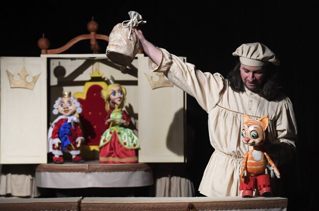 Actor Peter Creek Orgován rehearses a puppetry show at the puppetry theatre in Košice.