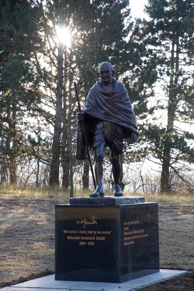 The statue of Gandhi in Martin.