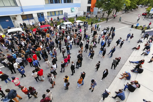 People queuing in front of the vaccination centre in Bratislava, May 15