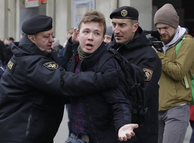 Belarus police detained journalist Raman Pratasevich (centre) in Minsk, Belarus, on May 23.