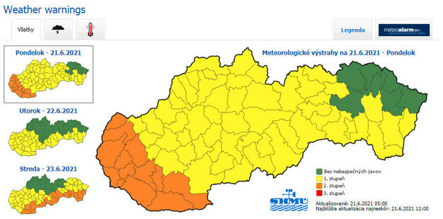 Weather warnings for June 21-23, 2021.