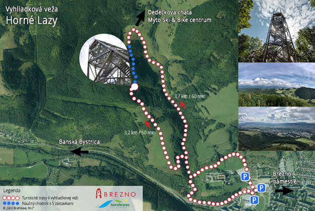 The map shows how to reach the new Brezno lookout tower.