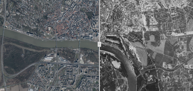A new map application compares present-day Bratislava with old Bratislava.