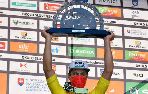 Peter Sagan celebrates his victory in Around Slovakia cycling race.