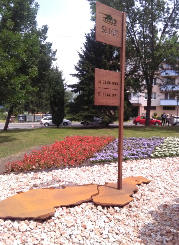 A monument marks the departure of the Soviet Army from Sliač, central Slovakia.